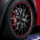 Radsatz MINI R5x JCW Cross Spoke R113 schwarz m. rotem Felgenring + Hankook